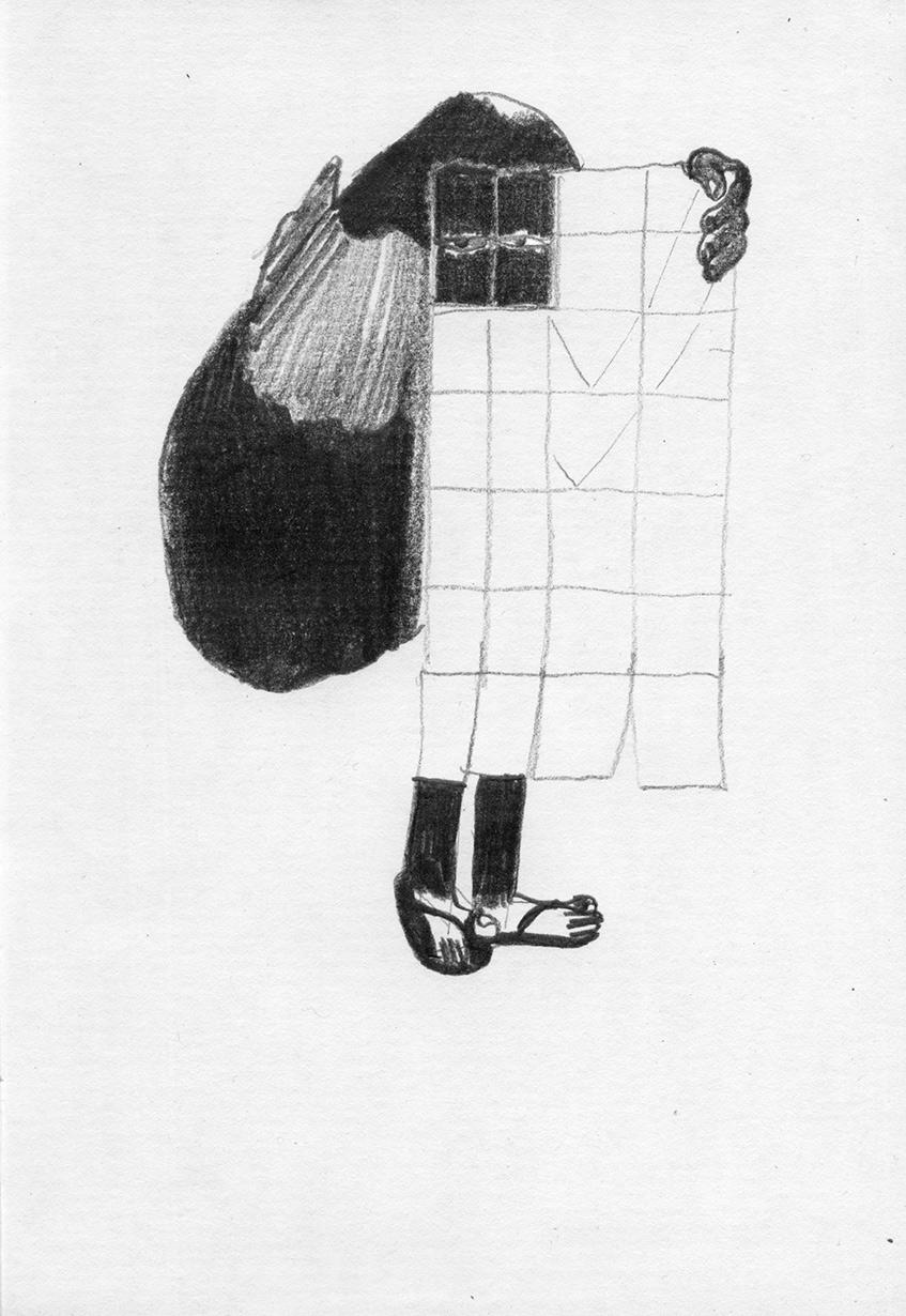 "Ralph Schuster »Normalwege« (aus dem Buch ""Sweeping w/1 eye open"", 2016), Bleistift auf Papier 21 x 14,8 cm Courtesy Ralph Schuster und Linn Lühn"