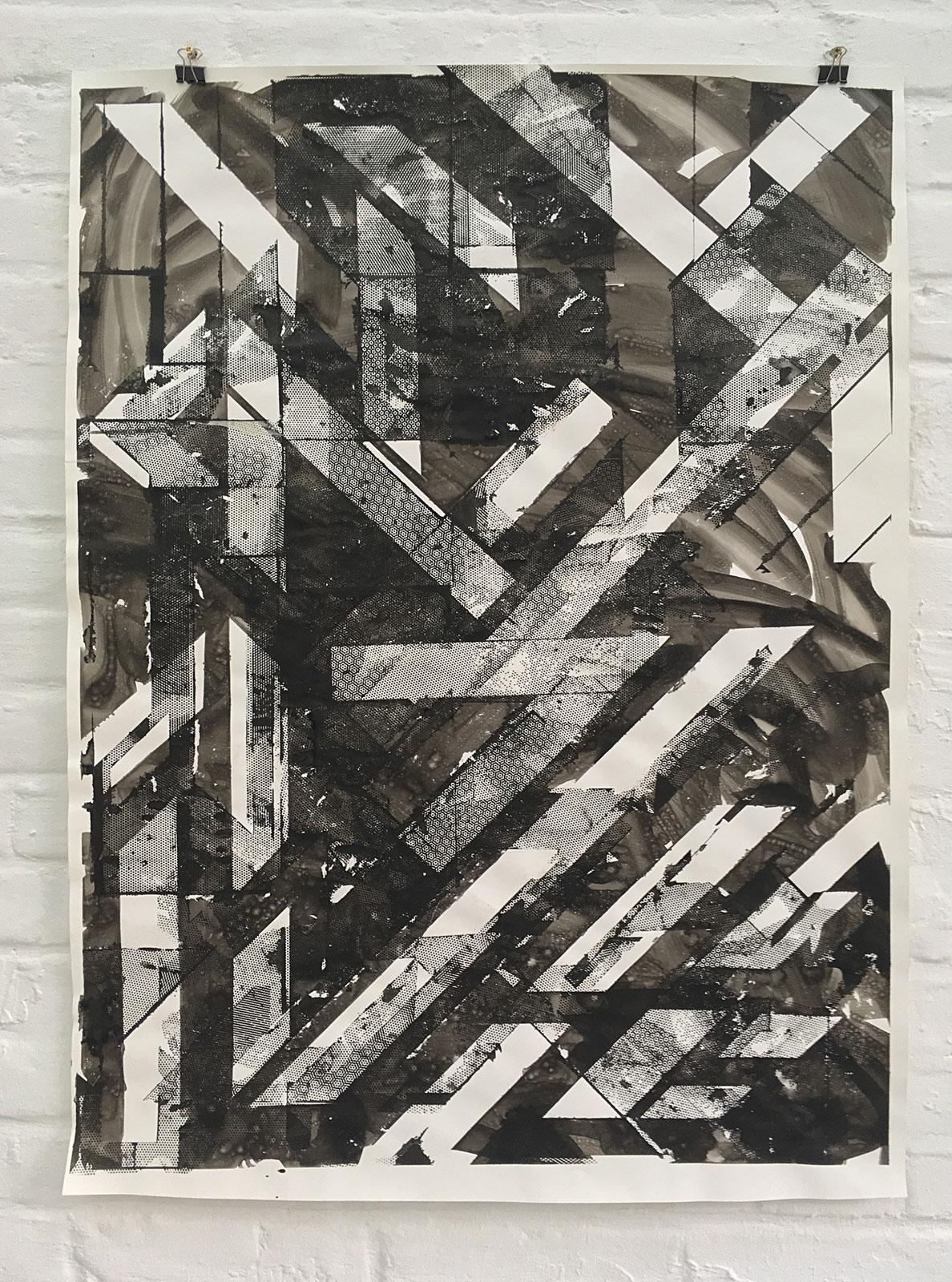 Burkhard Mönnich, Mesh #101, Tusche auf Papier, 102 x 73 cm, 2017 ©Der Künstler