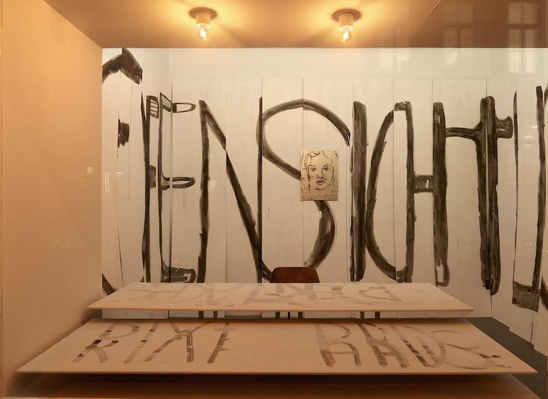 Roland Schappert, »DAS OFFENSICHTLICHE KLEBT NICHT AN DER OBERFLÄCHE«, Schriftbild-Installation, 18 Rigipsplatten, Sepiatusche, Wandfarbe, Licht, (ortsspezifisch) und »SR11«, 2018, lichtechter Pigmentdruck auf Aluminium, 54 x 40,5 cm, Edition von 8_Nachtansicht_2